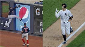 ▲賈吉(Aaron Judge)開轟!紅襪中外野手想沒收腳插進LED看板。(圖/美聯社/達志影像)