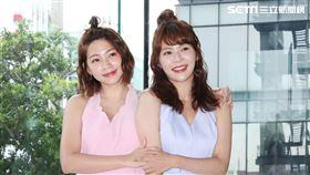 演員林萱瑜、曾智希在「天之驕女」飾演連體雙胞胎。(記者邱榮吉/攝影)