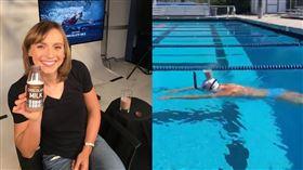 ▲美國奧運泳將樂黛基(Katie Ledecky)頭頂牛奶游過泳池。(圖/翻攝自雷德基推特)