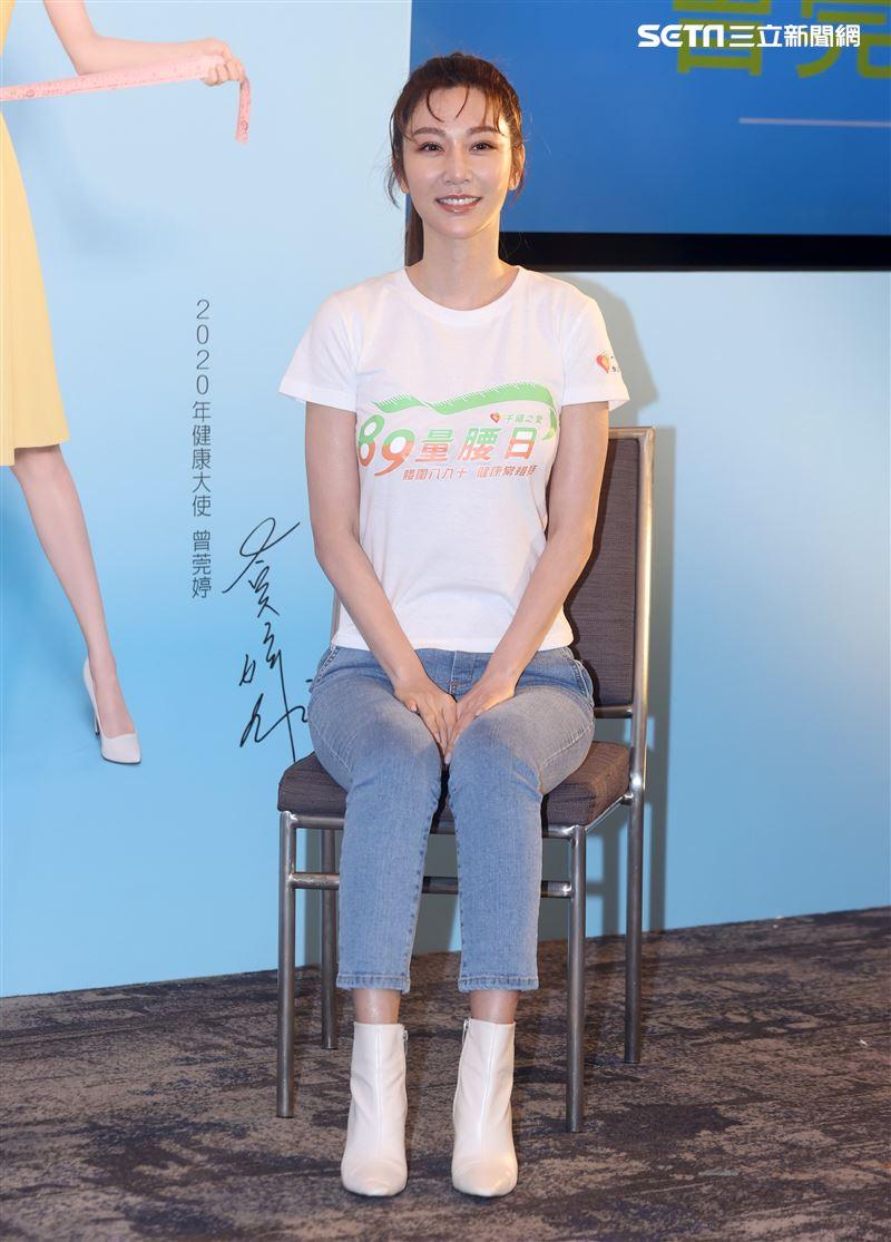 曾莞婷擔任89量腰日健康大使,靠3招維持23吋纖腰。(記者邱榮吉/攝影)