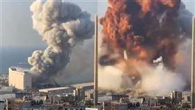 黎巴嫩,火警,港口,鞭炮船,爆炸,瞬間,驚悚