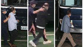 ▲蘇震清(左)、廖國棟(中)、陳超明(右)被戴上手銬坐上囚車,前往台北看守所。(圖/翻攝畫面)