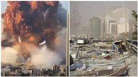 黎巴嫩貝魯特港口大爆炸,(合成圖/美聯社/達志影像)