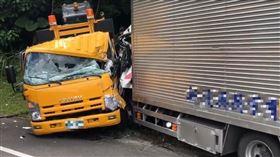 工程車,貨車,車禍,阿里山,觸口隧道,追撞(圖/翻攝畫面)