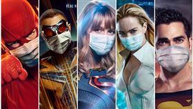 超級英雄不敵疫情 超人領軍全戴口罩。(圖/翻攝自CW官方海報推特)