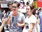 《天之驕女》眾演員掃街宣傳。(圖/記者林聖凱攝影)