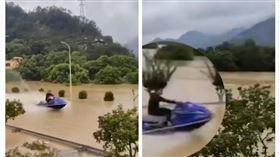 浙江,哈格比,淹水,遊艇(圖/翻攝自沸點視頻)
