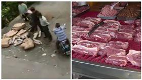 豬肉價格飆漲!100名中國暴民搶豬肉貨車 半小時搶7噸,組合圖/翻攝自瀟湘晨報微博影片、資料照