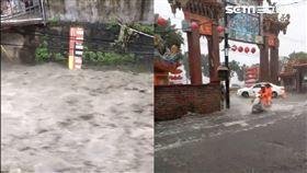 台中一級淹水警戒!大里積水淹過腳踝 人車水中艱辛前進 圖/民眾提供