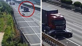 聯結車撞轎車!高速公路「拖行800公尺」…畫面超驚悚(圖/翻攝自梨視頻微博)