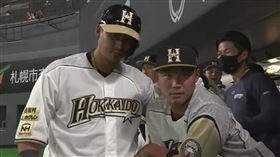 中田翔和王柏融慶祝開轟。(圖/翻攝自推特)