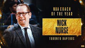 Nick Nurse獲選為年度最佳教練。(圖/翻攝自NBA推特)