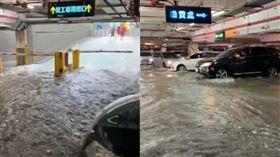 宜蘭,停車場,淹水,輪胎,海浪,下雨,淹水,警戒,車子,泡水,宜大 翻攝畫面