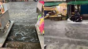 新北暴雨!五股馬路淹成河 居民崩潰(圖/網友授權提供)