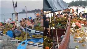 鬧飢荒?中國榴槤貨船翻覆 村民瘋打撈…當晚363人中毒 圖翻攝自微博