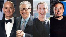 祖克柏Mark Zuckerberg(圖/翻攝自Mark Zuckerberg臉書)亞馬遜,貝佐斯(圖/資料畫面) 馬斯克,Tesla(圖/翻攝自臉書) 美國微軟創辦人比爾蓋茲(圖/翻攝自Bill Gates臉書)