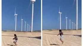 女孩,沙灘,影子,跳繩,風力發電機(圖/翻攝自@fuhentetsu推特)