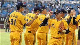 ▲中信兄弟總教練丘昌榮和張志強擊掌。(圖/記者劉彥池攝影)