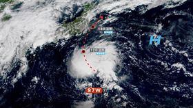 日本南方的97W,已被日本氣象廳評定為熱帶低壓。(圖/翻攝自「台灣颱風論壇 天氣特急」粉專)