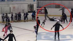 小巨蛋放任競速滑冰隊「私下授課」,場內高速行駛,不甩危險撞倒遊客。(圖/翻攝自爆怨公社)