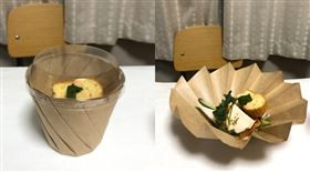 日本,餐廳,外帶,牛皮紙,摺紙杯,盤子。(圖/翻攝自FURUICHI Shohei推特)