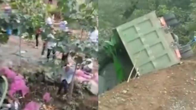 貨車翻蒜頭灑滿地!村民搶撿下場 砂石車墜慘釀8死11傷