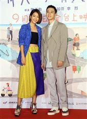 演員劉冠廷、李霈瑜(大霈)出席電影「消失的情人節」首映會。(記者邱榮吉/攝影)