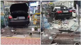 女兒畫作被店長弄丟!狂媽開車撞進便利商店 驚悚畫面曝光(圖/翻攝自YouTube)