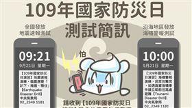 921上午9:21全國發放地震測試簡訊(圖/翻攝自氣象局)