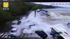 中國,浙江,錢塘江,淹水,潮水,車輛(圖/翻攝自梨視頻)