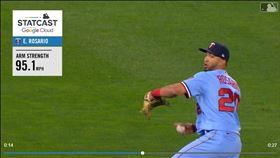 ▲雙城左外野手羅沙里歐(Eddie Rosario)傳95英里火球到本壘。(圖/翻攝自MLB官網)