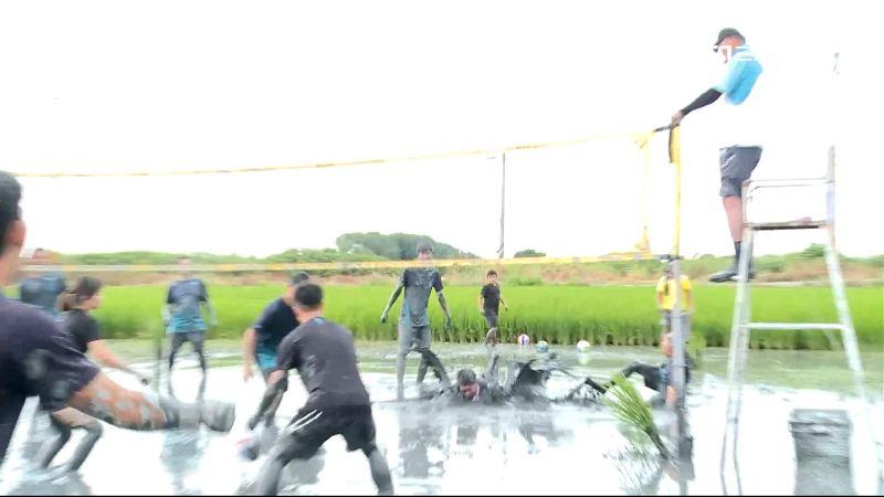 百人報名水田打排球 民眾渾身泥嗨翻