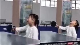 乒乓球,可愛,女童,哭,精準