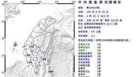 清晨起已連5震,29日4點50分,發生芮氏規模5.3有感地震。(圖/中央氣象局)