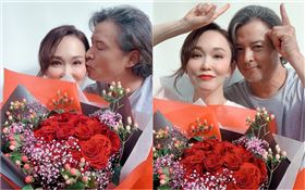 李銘順甜吻范文芳歡慶結婚11年。(圖/凱渥提供)