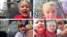 ▲爸爸錄下三個兒子坐雲霄飛車的畫面。(圖/AP/Newsflare授權)