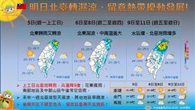 氣象局公布未來一周天氣資訊。(圖/翻攝自氣象局臉書)