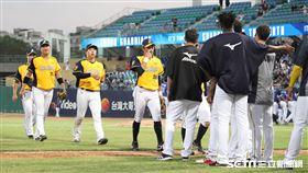 ▲中信兄弟球員慶祝勝利。(圖/記者劉彥池攝影)