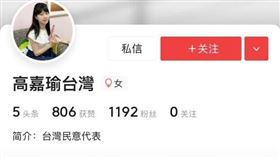 遭中國網友開假帳號,高嘉瑜自嘲可轉發「台灣最強武器」(圖/翻攝臉書)