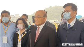 行政院長蘇貞昌5日上午赴宜蘭出席「南方澳跨港大橋重建工程」祈福動土典禮。