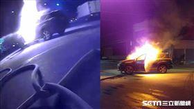 彰化兩車對撞火燒車/翻攝畫面