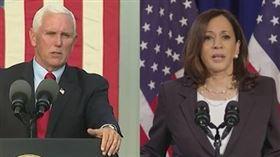 美國2020年總統大選唯一一場副總統候選人辯論登場,現任副總統彭斯(左)與民主黨候選人賀錦麗(右)不握手,坐著辯論。(圖/翻攝自C-SPAN頻道)