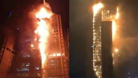 10/8日,南韓蔚山發生嚴重火警,推特瘋傳火燒大樓。(圖/翻攝自推特)