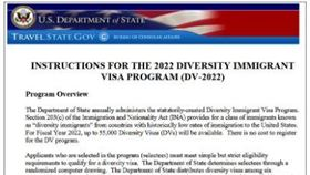 ▲美國國務院「多元化移民簽證計畫」。(圖/翻攝自美國國務院網站)