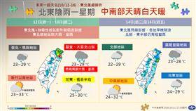 氣象局公布未來一周天氣變化圖。(圖/翻攝自氣象局臉書)