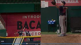 ▲勇士終結者莫蘭森(Mark Melancon)在牛棚熱身街到隊友的全壘打。(圖/翻攝自MLB官網)