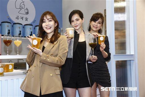 簡沛恩、方馨、王宇婕出席必可蜜加盟展媒體記者會。(圖/記者林聖凱攝影)