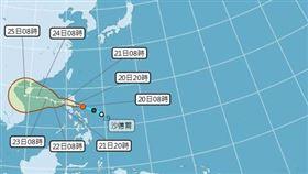位在菲律賓東方海面的熱帶性低氣壓,已經生成為今年第17號颱風「沙德爾」。(圖/翻攝自氣象局)