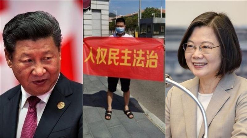 人民怒了!福建男高舉紅布條嗆中共獨裁…高喊該向台灣學習