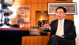 吳釗燮接受印度媒體視訊專訪(圖/外交部提供)